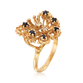C. 1980 Vintage .30 ct. t.w. Sapphire Openwork Butterfly Ring with Diamond Accents in 14kt Yellow Gold. Size 6