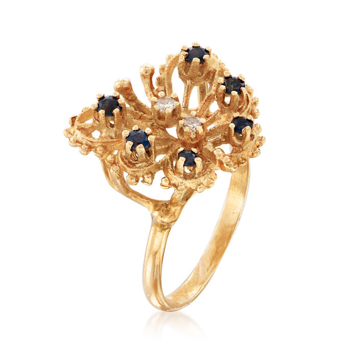 C. 1980 Vintage .30 ct. t.w. Sapphire Openwork Butterfly Ring with Diamond Accents in 14kt Yellow Gold