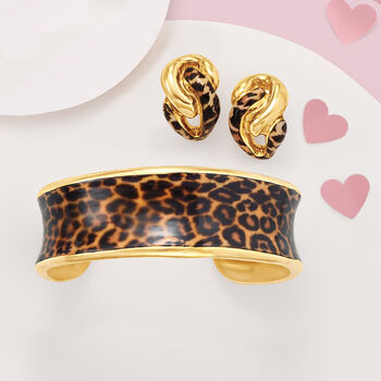 Italian Leopard Print Enamel Earrings in 18kt Gold Over Sterling
