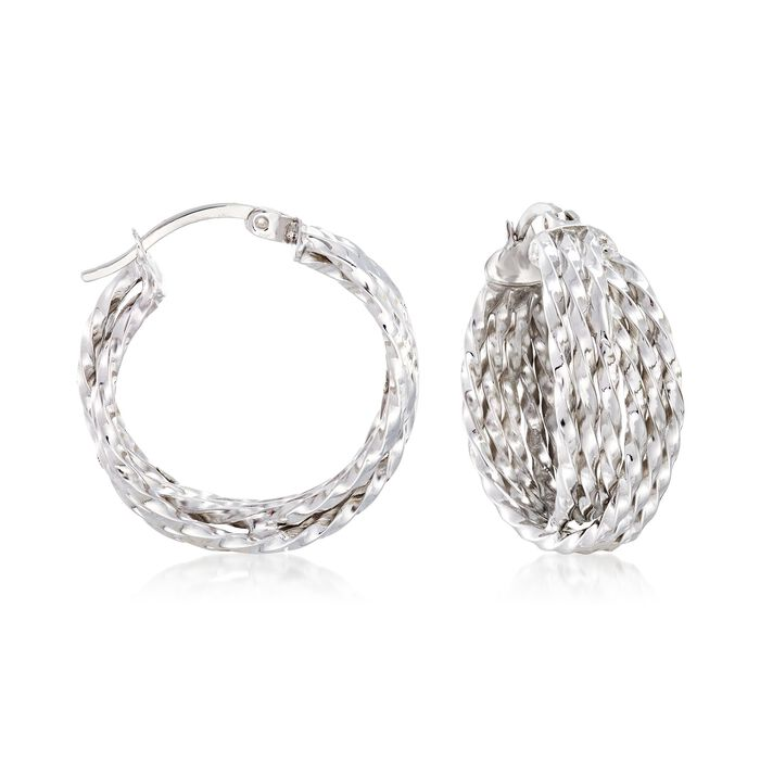 Sterling Silver Multi-Twist Crisscross Hoop Earrings, , default