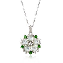 6.75 ct. t.w. Green Amethyst and .90 ct. t.w. Chrome Diopside Pendant Necklace With White Topaz in Sterling, , default