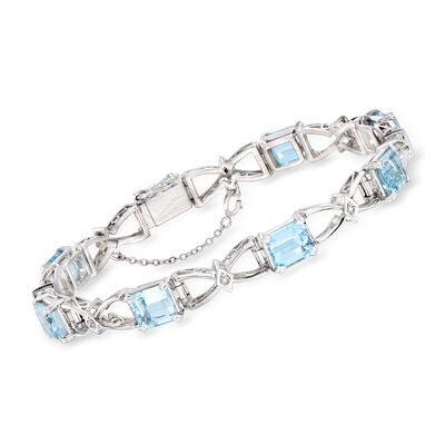 C. 1970 Vintage 11.50 ct. t.w. Aquamarine and .15 ct. t.w. Diamond Bow-Link Bracelet in 14kt White Gold