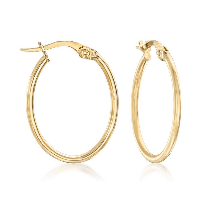 Italian 18kt Yellow Gold Oval Hoop Earrings