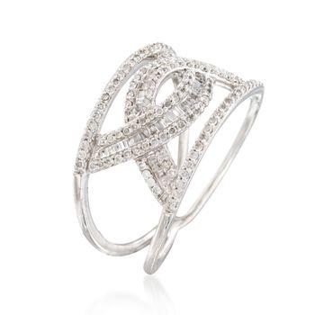 .55 ct. t.w. Diamond Interlocking Arches Ring in 14kt White Gold. Size 6, , default