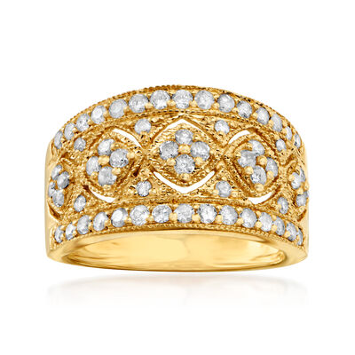 1.00 ct. t.w. Diamond Openwork Floral Ring in 18kt Gold Over Sterling