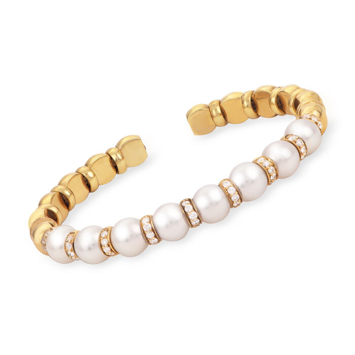 8.5-9mm Cultured Akoya Pearl and 1.10 ct. t.w. Diamond Cuff Bracelet in 18kt Yellow Gold