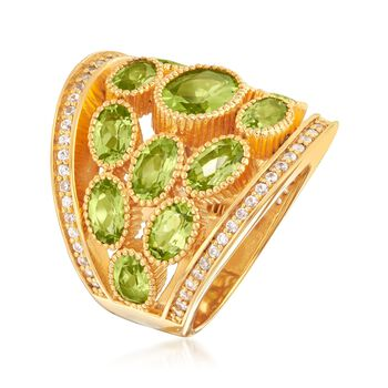 7.40 ct. t.w. Peridot and .80 ct. t.w. White Zircon Ring in 18kt Yellow Gold Over Sterling Silver