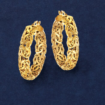 "18kt Gold Over Sterling Medium Byzantine Hoop Earrings. 1 1/4"""