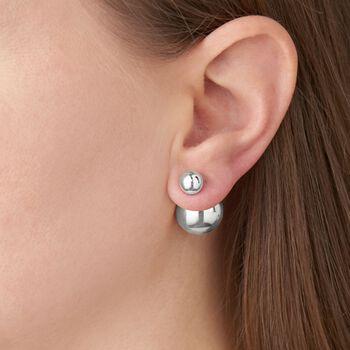 Italian 8-16mm Sterling Silver Bead Front-Back Earrings, , default