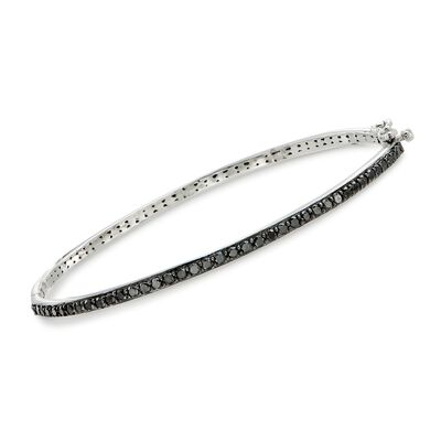 1.00 ct. t.w. Black Diamond Bangle Bracelet in Sterling Silver, , default