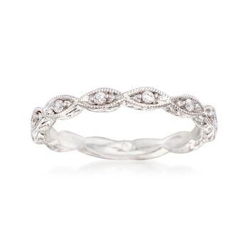 Gabriel Designs .13 ct. t.w. Diamond Marquise Wedding Ring in 14kt White Gold, , default