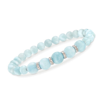 6-8mm Graduated Aquamarine Bead and .24 ct. t.w. Diamond Spacer Bracelet in Sterling Silver, , default