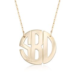 "14kt Yellow Gold Monogram Cutout Necklace. 16"", , default"