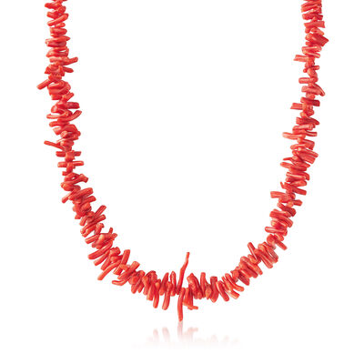 C. 1980 Vintage Graduated Coral Beaded Necklace in Sterling Silver, , default