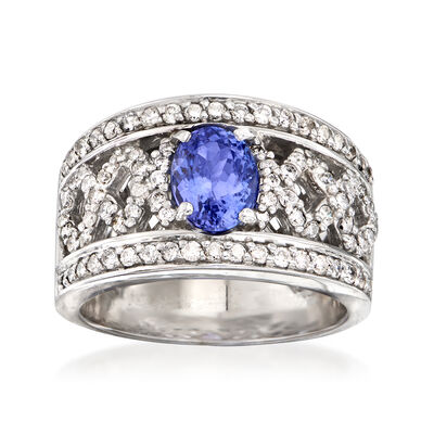 "C. 2000 Vintage 1.55 Carat Tanzanite and 1.10 ct. t.w. Diamond ""X"" Ring in 14kt White Gold, , default"