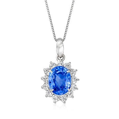 C. 1990 Vintage 2.83 Carat Sapphire and .58 ct. t.w. Diamond Pendant Necklace in Platinum