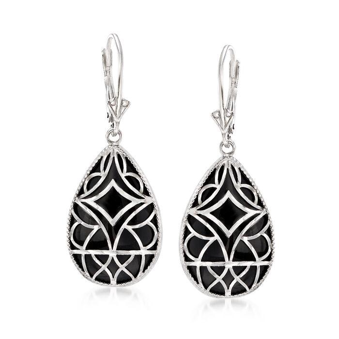 Black Onyx Drop Earrings in Sterling Silver, , default
