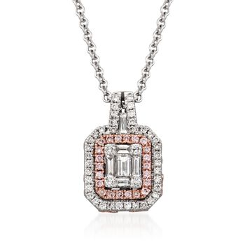 "Gregg Ruth .51 ct. t.w. White Diamond and .12 ct. t.w. Pink Diamond Pendant Necklace in 18kt Two-Tone Gold. 18"", , default"