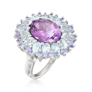 7.70 ct. t.w. Multi-Stone Ring in Sterling Silver, , default