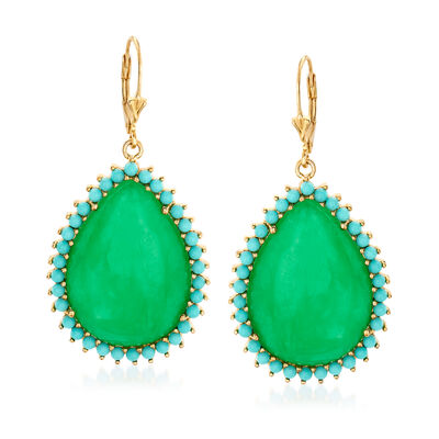 Jade and Simulated Turquoise Drop Earrings in 14kt Gold Over Sterling