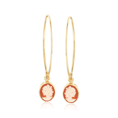 Oval Shell Cameo Drop Earrings in 14kt Yellow Gold, , default