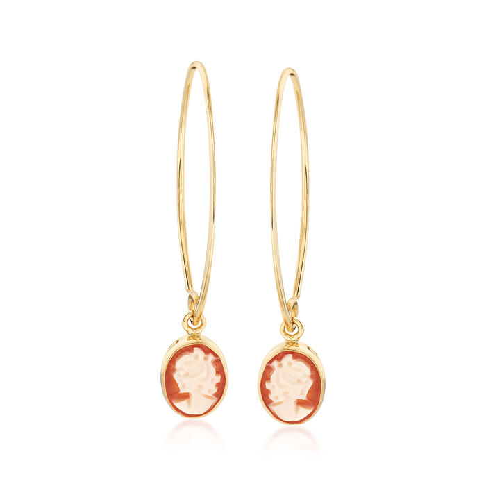 Oval Shell Cameo Drop Earrings in 14kt Yellow Gold