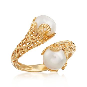 Italian 8mm Cultured Pearl Filigree Bypass Ring in 14kt Yellow Gold. Size 5, , default