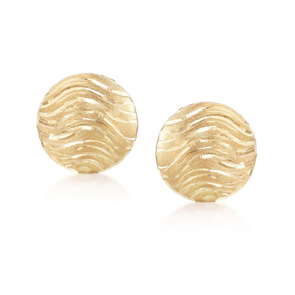 2a945e8417865 Italian 18kt Yellow Gold Wavy Round Clip Earrings
