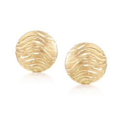 Italian 18kt Yellow Gold Wavy Round Clip Earrings, , default