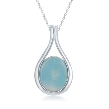 "Larimar Teardrop Pendant Necklace in Sterling Silver. 18"", , default"