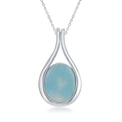 Larimar Teardrop Pendant Necklace in Sterling Silver, , default