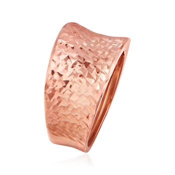 Italian 14kt Rose Gold Concave Ring. Size 7, , default