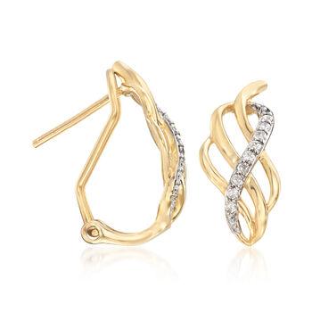 .11 ct. t.w. Diamond Twist Hoop Earrings in 14kt Yellow Gold