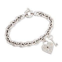 "C. 2000 Vintage .85 ct. t.w. Diamond Heart Padlock and Key Charm Bracelet in 14kt White Gold. 7"", , default"