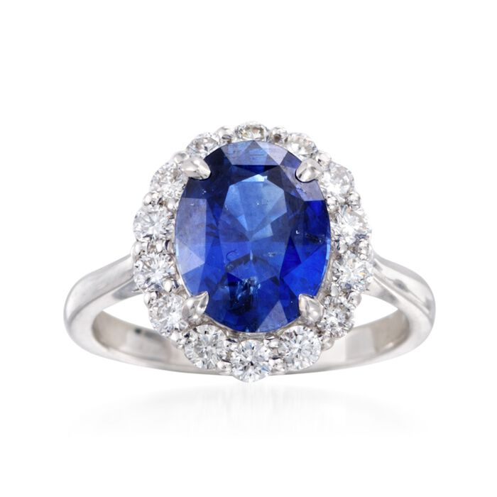C. 1990 Vintage 3.43 Carat Sapphire and .70 ct. t.w. Diamond Ring in 18kt White Gold. Size 6, , default