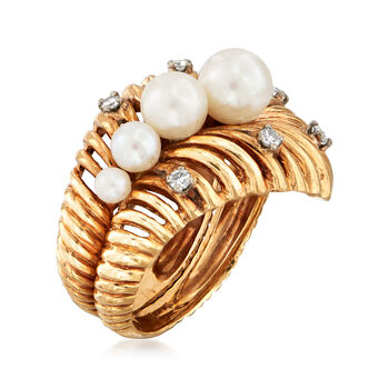 C. 1980 Vintage 3-6mm Cultured Pearl and .15 ct. t.w. Diamond Shrimp Ring in 14kt Yellow Gold. Size 6