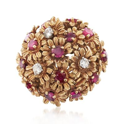 C. 1960 Vintage 2.50 ct. t.w. Ruby and .35 ct. t.w. Diamond Floral Cluster Ring in 14kt Yellow Gold, , default
