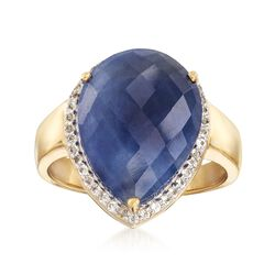 8.50 Carat Sapphire and .10 ct. t.w. White Topaz Ring in 18kt Yellow Gold Over Sterling Silver, , default