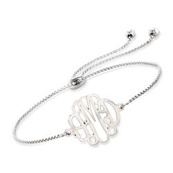 Sterling Sterling Small Monogram Box Chain Bolo Bracelet, , default