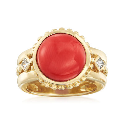 C. 1990 Vintage 12m Coral and .20 ct. t.w. Diamond Ring in 18kt Yellow Gold, , default