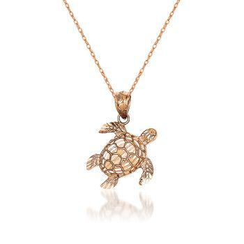 "14kt Rose Gold Turtle Pendant Necklace. 18"", , default"