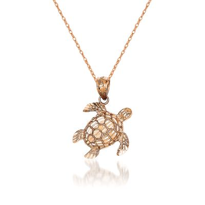 14kt Rose Gold Turtle Pendant Necklace, , default