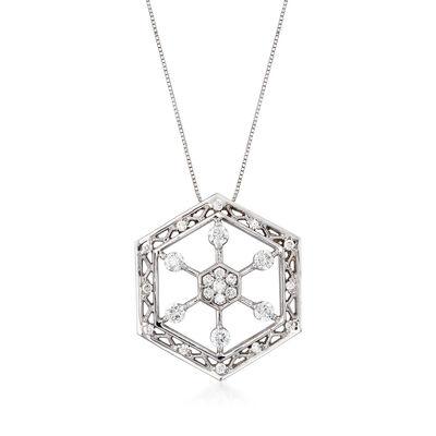 C. 1990 Vintage .75 ct. t.w. Diamond Hexagon Snowflake Pendant Necklace in 14kt White Gold, , default