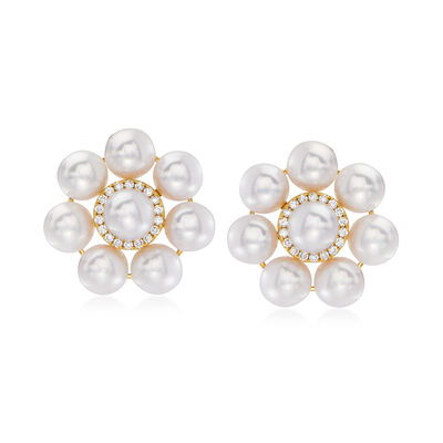 6.5-7mm Cultured Pearl and .30 ct. t.w. Diamond Floral Earrings in 14kt Yellow Gold