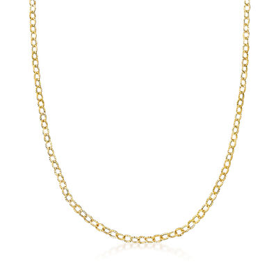 Italian 14kt Yellow Gold Crimped Link Necklace, , default