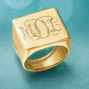 Italian Square Flat-Top Monogram Ring in 14kt Yellow Gold, , default