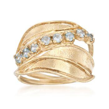 2.00 ct. t.w. Blue Topaz Sash Ring in 18kt Gold Over Sterling, , default