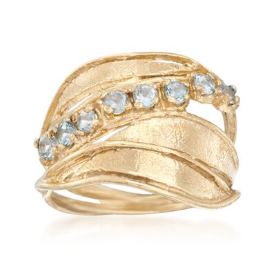 2.00 ct. t.w. Blue Topaz Sash Ring in 18kt Gold Over Sterling, , default