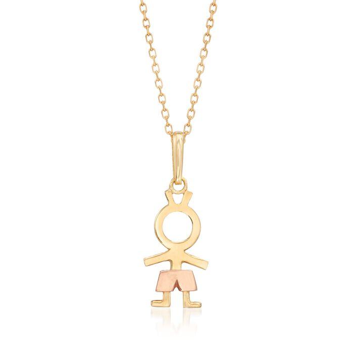 """18kt Two-Tone Gold Boy Pendant Necklace. 18"""", , default"""