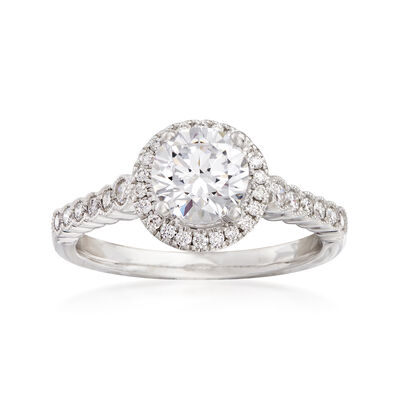 .32 ct. t.w. Diamond Halo Engagement Ring Setting in 14kt White Gold